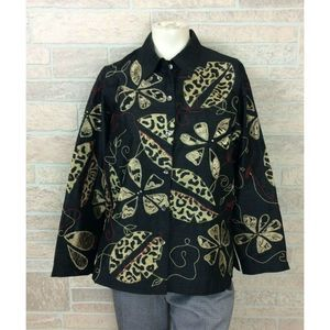 Laura Ashley Womens Small Jacket Top Black Floral
